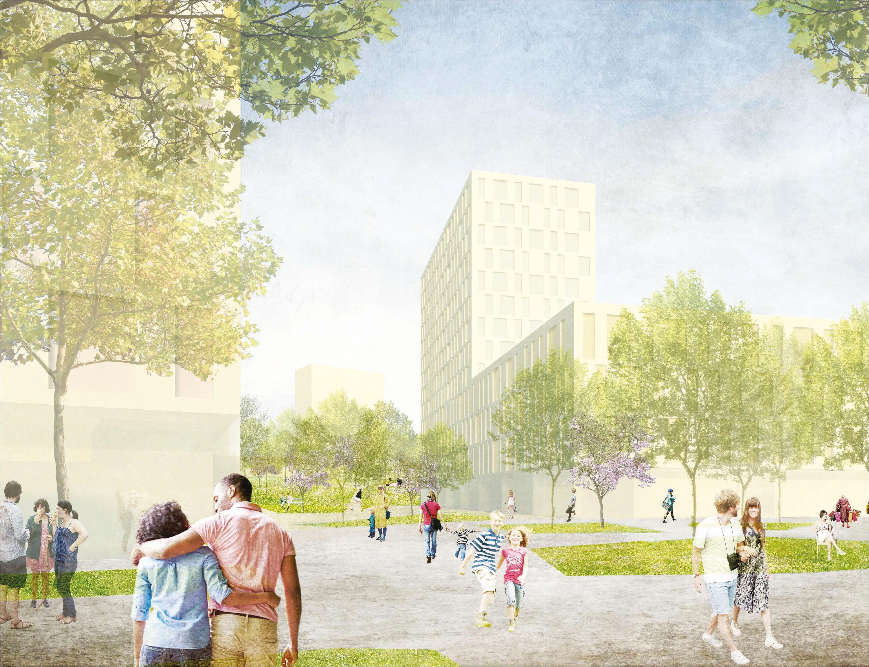 Perspektive Eggenfeldener Straße, © Riegler Riewe Architekten